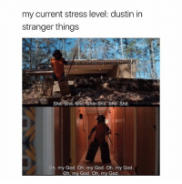 God, Oh My God, and Shit: my current stress level: dustin in  stranger things  Shit Shit- Shit Shit Shit Sit Shit.  Oh, my God Oh, my God. Oh, my God.  Oh, my God. Oh, my God Hi