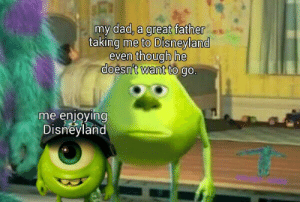 Dad, Disneyland, and Parents: my dad, a great father  taking me to Disneyland  even though he  doesn't want to go.  me enjoying  Disneyland Shoutout to all of the parents out there doing things they don't want to do because they know their kids will enjoy it!
