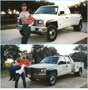 My dad and brother recreated this photo 26 years later.: My dad and brother recreated this photo 26 years later.