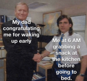 meirl: My dad  congratulating  me for waking  up early  Me at 6 AM  grabbing a  snack at  the kitchen  before  going to  bed. meirl