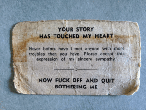 My dad has carried this card in his wallet for 40 years: My dad has carried this card in his wallet for 40 years