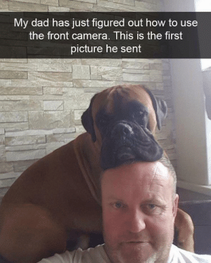 Dad, Tumblr, and Blog: My dad has just figured out how to use  the front camera. This is the first  picture he sent awesomacious:  Look at that droopy face