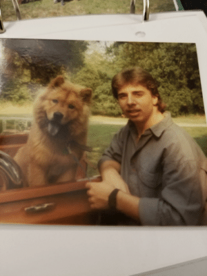 My dad in 1989 with my Aunt's puppy Poo Bear.: My dad in 1989 with my Aunt's puppy Poo Bear.
