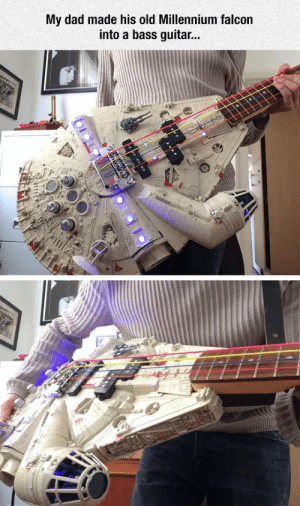 Dad, Millennium Falcon, and Tumblr: My dad made his old Millennium falcon  into a bass guitar... lolzandtrollz:Well Played, Dad