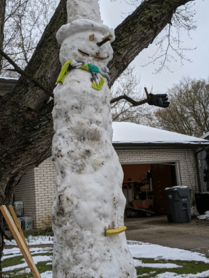My dad, my fiancé, and I built a snowman today (in april). Banana for scale.: My dad, my fiancé, and I built a snowman today (in april). Banana for scale.
