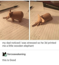 Dad, Elephant, and Good: my dad noticed i was stressed so he 3d printed  me a little wooden elephant  fierceawakening  this is Good wholesome little elephant