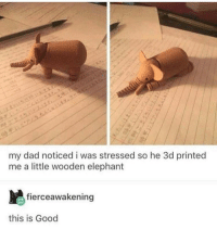 Dad, Elephant, and Good: my dad noticed i was stressed so he 3d printed  me a little wooden elephant  fierceawakening  this is Good Wholesome dad