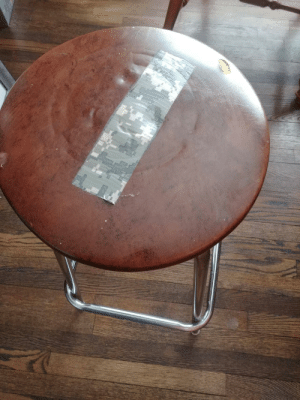 "My dad said he patched the hole in the barstool so well, ""you can't even see it."": My dad said he patched the hole in the barstool so well, ""you can't even see it."""