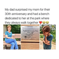 """<p>look at how happy this made her via /r/wholesomememes <a href=""""http://ift.tt/2uCU5EN"""">http://ift.tt/2uCU5EN</a></p>: My dad surprised my mom for their  30th anniversary and had a bench  dedicated to her at the park where  they always walk togeth  Celebrating 30 years of walking with my love.  and the joy of all of you walking with yours.  Happy Anniversary Pam  Love, Jeff  Pam and Jeff Wiese  1987 2017 <p>look at how happy this made her via /r/wholesomememes <a href=""""http://ift.tt/2uCU5EN"""">http://ift.tt/2uCU5EN</a></p>"""