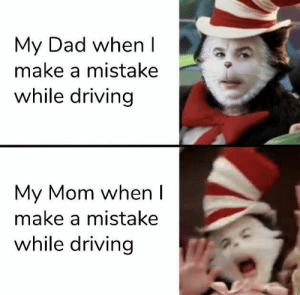 But Mom I'm literally going ten in a thirty five: My Dad when I  make a mistake  while driving  My Mom when I  make a mistake  while driving But Mom I'm literally going ten in a thirty five