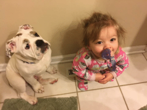 Butt, Puppy, and Today: My daughter and my puppy fight over whos going to warm their butt on the vent in the morning. The baby won today. The puppy is pouting about it.