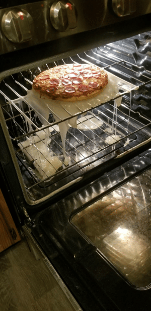 Pizza, Board, and Pan: My daughter used a plastic cutting board for a pizza pan.