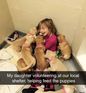 Covered in all sorts of puppy love: My daughter volunteering at our locall  shelter, helping feed the puppies Covered in all sorts of puppy love