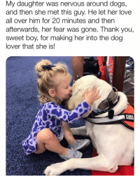 "Arguing, Bless Up, and Dogs: My daughter was nervous around dogs,  and then she met this guy. He let her love  all over him for 20 minutes and then  afterwards, her fear was gone. Thank you,  sweet boy, for making her into the dog  lover that she is!  GIBBS NEW YORKERS ARE WILD FAM 😂. They will argue about anything. It's both a sport and a hobby. In the rest of the country people burn calories by wearing a Fitbit and measuring steps. Nah. New Yorkers will just argue with u until they thin 😂. I love it. I'm not saying they ain't wonderful people! To the contrary! They be nice as HELL to me! They just love to argue. FOR EXAMPLE. Me: ""fam I love getting food off the Halal carts."" NY person: ""oh word, son? Oh it's like THAT my dude? Ayo...Could I ax u a question, son?"" *ominous music plays (90s era Mobb Deep)* Me: ""sure...(?)"" NY person: ""ayo son...could I ax u what halal cart u go to my dude?"" Me: ""ummm like around Greenwich and Murray...(?)"" NY person: ""son [pregnant pause] SON 😂. U can't be serriyiss right now son. Is u wildin my dude? *whispering to friend in NY Yankees cap* son...is this dude wildin?"" Friend (quietly): ""I mean ... he wildin son."" (Everyone in NY got a yes-man with him who wear a yankee fitted real low and who don't really argue, he just agree with what his friend say lol.) New York person: ""ayo u mean...Like up by World Trade?"" And I'm like: ""I guess...(?)"" NY person: ""SON! HOW U AINT KNOW THESE THINGS SON? 😂 U gotta know which halal cart got that GOOD good and which one got that mid grade son! Ayo do me a favor son walk a extra couple blocks to Broadway u see a cart that say ""HALAL CHICKEN GYROS"" with ""ONE DOLLAR SAMOSA""...UNDA DAT. U ask for Hakeem. Tell him Donnell sent u. Yeah. Donnell from one two fif. U gotta tell him the street because it's two Donnells. Son he gon hook u up with the FIRE CHICKEN my dude. Quiet as it's kept? Prime Minister of Pakistan eat at that cart my dude word is bond I seent him. He had mad security around him and I'm like oh he gotta be a digni-TERRY he ordered chicken biryani with salad son I said ayo get that red sauce too my son and he did my dude it was wild we ate togevva but I don't tell that story often anyway I'm not sayin don't eat at them carts u eat at son! I'm just sayin...I WOUL-INNT EAT THERE IF I WAS U. BUT U COULD DO WHAT U FEEL. BLESS UP."" 😂😂😍 [ALL CREDITS IN COMMENT BELOW.]"