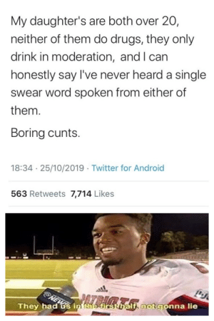 Disappointment via /r/memes https://ift.tt/2PldnMt: My daughter's are both over 20,  neither of them do drugs, they only  drink in moderation, and I can  honestly say I've never heard a single  swear word spoken from either of  them.  Boring cunts  18:34 25/10/2019 Twitter for Android  563 Retweets 7,714 Likes  NEWS  They had us in the-first halfnotgonna lie Disappointment via /r/memes https://ift.tt/2PldnMt