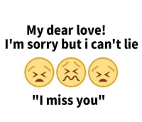 "Sorry: My dear love!  I'm sorry but i can't lie  ""I miss you"""