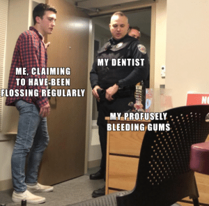 More of the best memes at http://mountainmemes.tumblr.com: MY DENTIST  ME, CLAIMING  TO HAVE-BEEN  FLOSSING REGULARLY  NO  MY-PROFUSELY  BLEEDING GUMS  uliiil More of the best memes at http://mountainmemes.tumblr.com