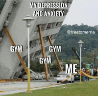 Gym, Anxiety, and Depression: MY DEPRESSION  AND ANXIETY  @freetomeme  GYM  GYM  GY  reetomeme The accuracy...