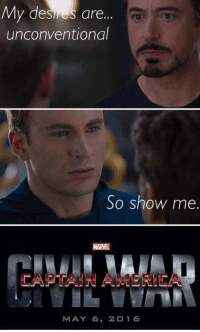 "America, Memes, and Tumblr: My desires are...  unconventional  So show me  MARVEL  CAPTAIN AMERICA  MAY 6, 2016 <p><a class=""tumblr_blog"" href=""http://sidizenkane.tumblr.com/post/110849935467/oh-no-the-memes-are-teaming-up-theyre"">sidizenkane</a>:</p><blockquote><p>oh no</p><p>the memes are teaming up</p>  <p>they're…..</p>  <p>……memeing up</p>  <p>help</p></blockquote>"