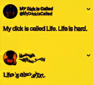 Bitch, Life, and Dick: My Dick is Called  @yDickisCalled  My dick is called Life. Life is hard. NO BITCH! MY LIFE IS LONG!