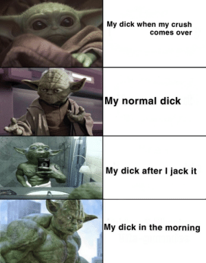Crush, Dick, and Dank Memes: My dick when my crush  comes over  My normal dick  My dick after I jack it  My dick in the morning Read in reverse you must.