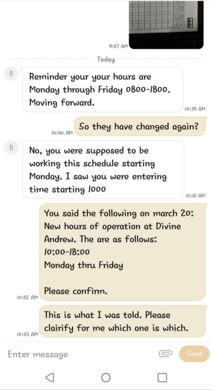 My discord friend's Supervisor got my friend's schedule mixed up, and complained to my friend about it. He was very angry, to say the least.: My discord friend's Supervisor got my friend's schedule mixed up, and complained to my friend about it. He was very angry, to say the least.