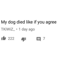 youtube.com, Dog, and Day: My dog died like if you agree  TKİWiZ_. 1 day ago youtube comment section