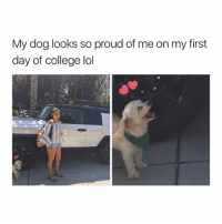 awe: My dog looks so proud of me on my first  day of college lol awe