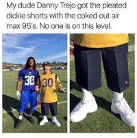 Danny Trejo, Dude, and Lmao: My dude Danny Trejo got the pleated  dickie shorts with the coked out air  max 95's. No one is on this level  33 thuglife savage lmao trapvine tagafriend 😭😭😭😭😭👌🏾👌🏾👌🏾