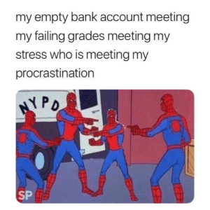 Dank, Memes, and Target: my empty bank account meeting  my failing grades meeting my  stress who is meeting my  procrastination  NYPO  SP meirl by chouaib_aissaoui FOLLOW 4 MORE MEMES.