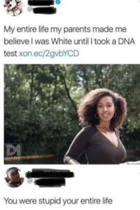 Life, Parents, and Tumblr: My entire life my parents made me  believe I was White until I took a DNA  test xon.ec/2gvbYCD  You were stupid your entire life memehumor:  Idk, she looks white to me.