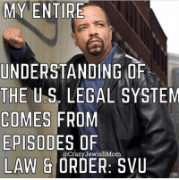 crazyjewishmom meme of the day!: MY ENTIRE  UNDERSTANDING ORF  THE U.S. LEGAL SYSTEM  COMES FROM  EPISODES OF  LAW & ORDER: SVU  @CrazyJewishMom crazyjewishmom meme of the day!