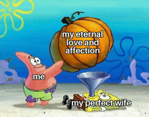 I love making memes for my wife (OC): my eternal  love and  affection  me  my perfect wife I love making memes for my wife (OC)
