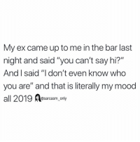 "Funny, Memes, and Mood: My ex came up to me in the bar last  night and said ""you can't say hi?""  And I said ""I don't even know who  you are"" and that is literally my mood  all 2019 esarcasm ony (via twitter-j_np1998)"