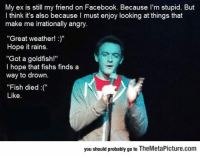 "srsfunny:When Your Ex Is Still On Your List Of Facebook Friends: My ex is still my friend on Facebook. Because I'm stupid. But  l think it's also because I must enjoy looking at things that  make me irrationally angry  ""Great weather!""  Hope it rains.  ""Got a goldfish!""  l hope that fishs finds a  way to drown.  ""Fish died""  Like.  you should probably go to TheMetaPicture.com srsfunny:When Your Ex Is Still On Your List Of Facebook Friends"