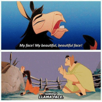 The Emperor's New Groove: My face! My beautiful, beautiful face!  (sobbing)  LLAMA FACE The Emperor's New Groove