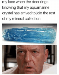 Memes, My Face When, and 🤖: my face when the door rings  knowing that my aquamarine  crystal has arrived to join the rest  of my mineral collection  float universe They're not ROCKS!!!