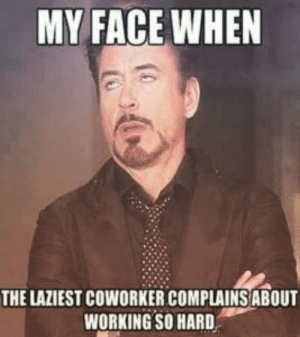 Funny, Memes, and Work: MY FACE WHEN  THE LAZIEST COWORKER COMPLAINSABOUT  WORKING SO HARD 100+ Funny Work Memes – Work Memes Collections