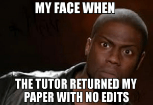 My face when the tutor returned my paper with no edits meme - Kevin ...: MY FACE WHEN  THE TUTOR RETURNED MY  PAPER WITH NO EDITS My face when the tutor returned my paper with no edits meme - Kevin ...