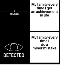 Family, Life, and Time: My family every  time l get  an achievement  in life  HIDDEN  My family every  time l  do a  minor mistake  DETECTED I feel attacked