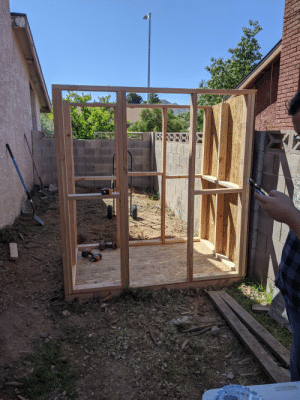My family is getting chickens donated to us, so we started on a chicken coop. We just got the frame finished today. If anyone is interested, I'll keep you guys updated when we finish it, and when we get the chickens.: My family is getting chickens donated to us, so we started on a chicken coop. We just got the frame finished today. If anyone is interested, I'll keep you guys updated when we finish it, and when we get the chickens.