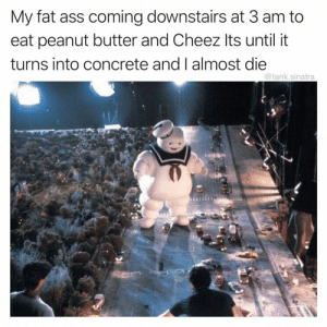Ass, Be Like, and Fat Ass: My fat ass coming downstairs at 3 am to  eat peanut butter and Cheez Its until it  turns into concrete and I almost die  @tank.sinatra It do be like that