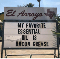 Dank, Grease, and Bacon: MY FAVORITE  ES SENTIAL  OIL IS  BACON GREASE