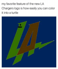 my favorite feature of the new LA  Chargers logo is how easily you can color  it into a turtle YESSS! 😂