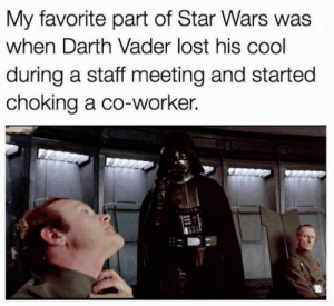 I can really relate to Vader.: My favorite part of Star Wars was  when Darth Vader lost his cool  during a staff meeting and started  choking a co-worker. I can really relate to Vader.