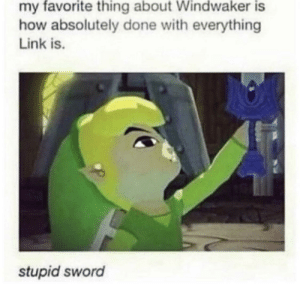 Link, Sword, and Irl: my favorite thing about Windwaker is  how absolutely done with everything  Link is.  stupid sword Actually me irl