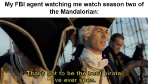It's really good, by the way.: My FBI agent watching me watch season two of  the Mandalorian:  That's got to be the best pirate  I've ever seen. It's really good, by the way.
