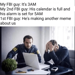 Fbi, Meme, and Alarm: My FBI guy: It's 3AM  My 2nd FBl guy: His calendar is full and  his alarm is set for 5AM  1st FBI guy: He's making another meme  about us  BI