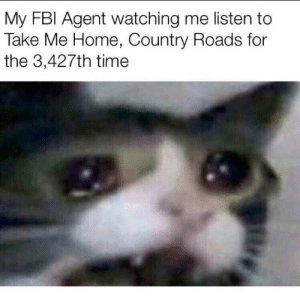 Not wrong, just unfunny.: My FBl Agent watching me listen to  Take Me Home, Country Roads for  the 3,427th time Not wrong, just unfunny.