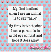 """Memes, Instinctive, and 🤖: My first instinct  when I see an animal  is to say """"hello""""  My first instinct when  I see a person is to  avoid eye contact and  hope it goes away  T facebook.com  Aqueensofsass 😹😹😹 #QueensofSass"""